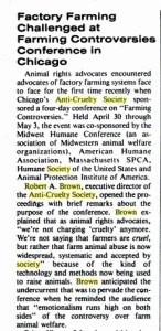 Clipping believed to be from Vegetarian Times described Robert A. Brown's 1981 conference about farmed animal welfare.