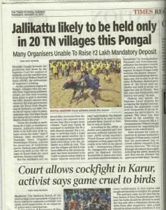 Jallikattu and cockfighting shared the spotlight in 2011.