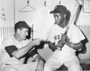 "Ted Williams, left, and Elijah ""Pumpsie"" Green right, 1959."