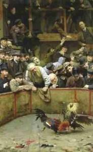 """""""Combats de coqs en Flandres, 1889,"""" by Remy Cogghe (1854-1935)."""
