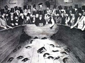 Pit bulls were used in rat-killing contest at Kit Burns' Tavern in mid-19th century New York City.