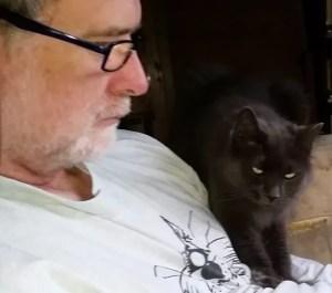 ANIMALS 24-7 editor Merritt Clifton & Sebastian the cat.