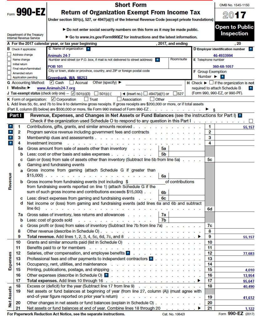 Our fourth IRS Form 990 (FY 2017) – Animals 24-7