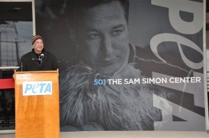 Sam Simon at the newly renamed PETA headquarters.  (PETA photo)