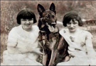 Anna Briggs and sister with Cy the shepherd
