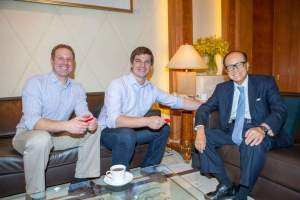 Hampton Creek cofounders Josh Balk & Josh Tetrick, with Hong Kong billionaire investor Li Ka-Shing. (Hampton Creek image)