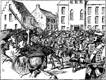 Battle of Golden Hill, fought at Edens Alley, New York City, during the American Revolution.