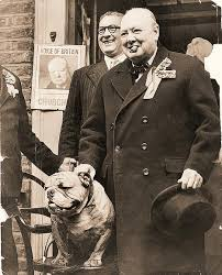 Winston Churchill and his bulldog.