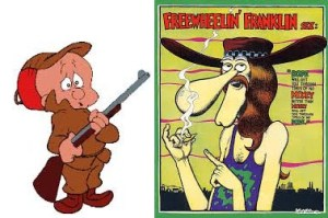 Elmer Fudd meets Freewheelin' Franklin.