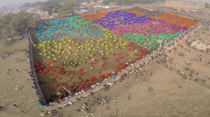 Overview of the 2014 Gadhi Mai sacrificial festival at Bariyarpur, Nepal. This is the Humane Society International drone photo, with enumeration by ANIMALS 24-7 editor Merritt Clifton.
