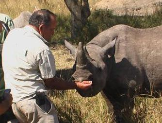 Johnny Rodrigues with Tatenda. (Zimbabwe Conservation Task Force photo)