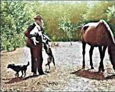 James P. Briggs with animals