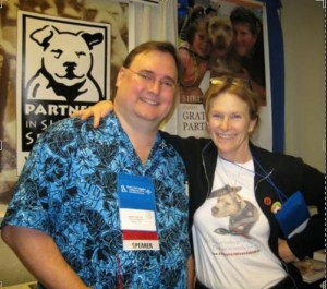 "Montgomery County dog warden Mark Kumpf with pit bull advocate Jane Berkey, who helped Kumpf to undo the Ohio law recognizing pit bulls as inherently ""vicious"" dogs."