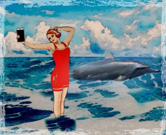 Lady with cell phone takes photo of dolphin
