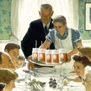 "(Hampton Creek image, based on ""Freedom from Want,"" 1942, by Norman Rockwell.)"