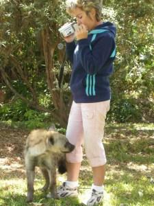 Cheryl Rodrigues & young hyena.