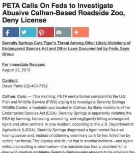 PETA complaint