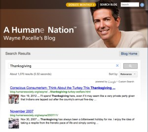 """2007 and 2012 editions of """"Wayne's blog"""" demonstrate that HSUS president Wayne Pacelle has in truth heard of Thanksgiving."""