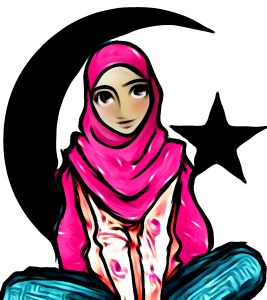 Islamic girl & moon