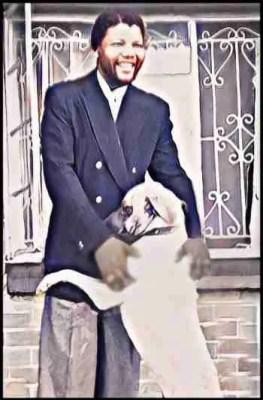 Nelson Mandela & dog