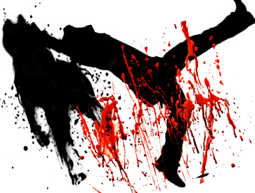 Silhouettes of corpse & pit bull