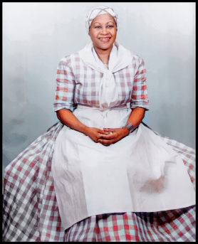 Ethel Harper portraying Aunt Jemima in the 1950s. Image from the Ethel Earnestine Harper Papers, 1905-1981, courtesy of the North Jersey History & Genealogy Center of the Morristown & Morris Township Library