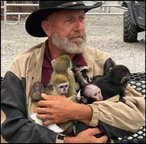 Tim Stark with monkeys.