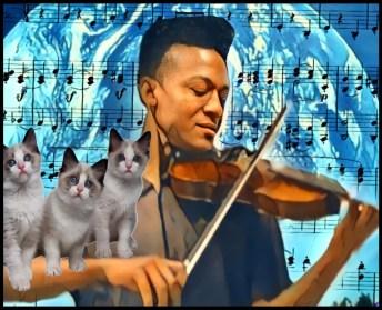 Elijah McClain with violin and cats