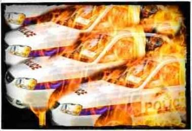 Burning police cars