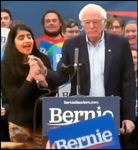 Priya Sawhney takes microphone from Bernie Sanders