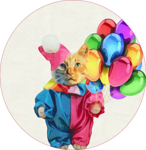 Clown kitty cat party favor