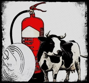 Cow with fire extinguisher and smoke alarm