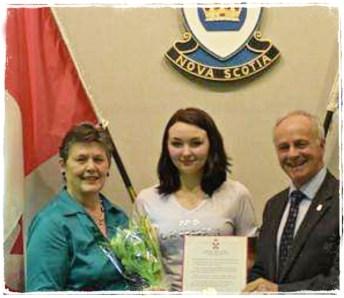 Award by Nova Scotia MLA