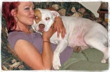 Megan Milner with pit bull
