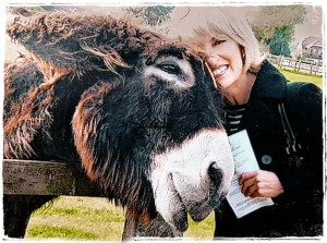 Regan Russell with donkey