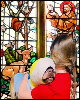 Buddy the burned yellow lab with vet tech and Saint Francis stained glass window