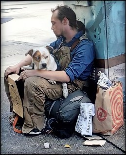 Homeless man with pit bull