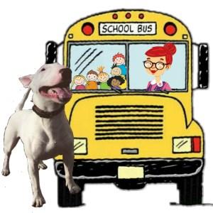 Pit bull & school bus, by Beth Clifton