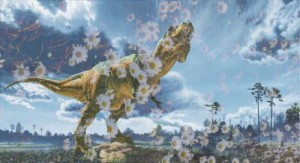 Dinosaur pushing up daisies. (Beth Clifton photo collage)