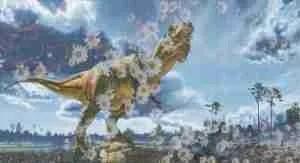 Dinosaur pushing up daisies. (Beth Clifton photo collage)