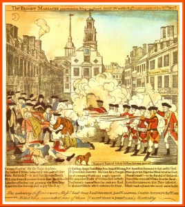 Paul Revere's engraving of the Boston Massacre, with his own dog, who assisted him on his famous ride, in the foreground.