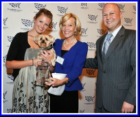 Ariana Brown, daughter of former Massachusetts Senator Scott Brown; Constance Harriman-Whitfield; and Humane Society Legislative Fund president Mike Markarian. (HSUS photo)