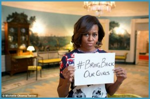 Michelle Obama joined thousands of other people worldwide calling on Boko Haram to return 276 girls who were kidnapped from their school in April 2014. (Twitter photo)