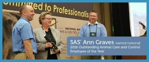 Ann Graves, left, now Seattle Animal Shelter acting director, was honored at the 2016 NACA conference. (Seattle Animal Shelter photo)