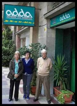 Carmen Mendez, Montse Ong, and Manel Casas of ADDA outside their office in Barcelona. (Merritt Clifton photo)