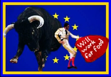 Breeding Spanish fighting bulls is heavily subsidized by the European Union. (Beth Clifton collage)