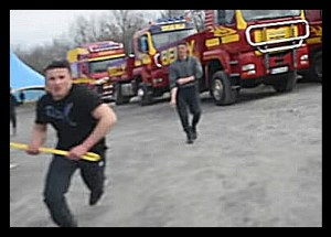 Circus Belly Wein workers attacked protesters with baseball bats. (From ARAN video)