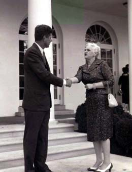 U.S. President John F. Kennedy greeting Rep. Julia Butler Hansen at the White House in August 1962.