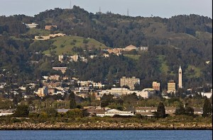 This recent photo by Q.T. Luong shows approximately the same panorama of the Berkeley hills as the 1868 photo,  from the site of the Napoleon Byrne house south.  (http://www.terragalleria.com/california/picture.usca45517.html)