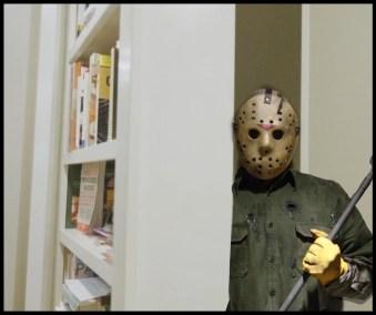Scary man in bookshelf tunnel